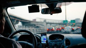 inside uber car