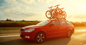 bicycles on roof of car