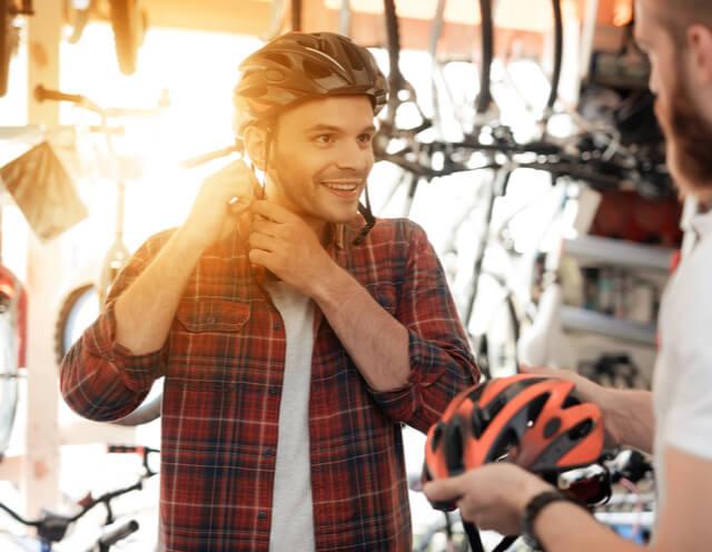 bicycle rider with helmet